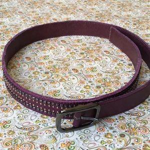 Accessories - Sangria Leather Embellished Belt.